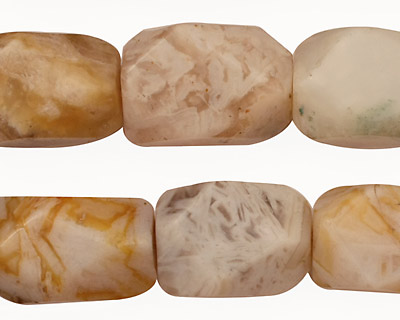 Bamboo Leaf Agate Faceted Nugget 12-19x12-14mm