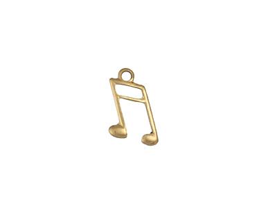 Brass Music Note 8x13mm
