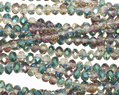 Green & Pink AB Crystal Faceted Rondelle 4mm