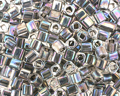 TOHO Rainbow Crystal (with Opaque Gray Lining) Cube 4mm Seed Bead