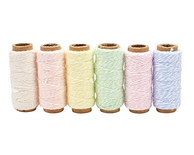 Creamy Pastel Bakers Twine 2 ply, 65 ft x 6 colors