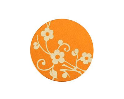 Lillypilly Orange Floral Vine Anodized Aluminum Disc 25mm, 24 gauge
