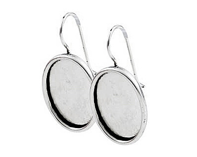 Nunn Design Antique Silver (plated) Large Oval Frame Earring 16x20mm