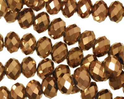 Metallic Antique Bronze Crystal Faceted Rondelle 8mm