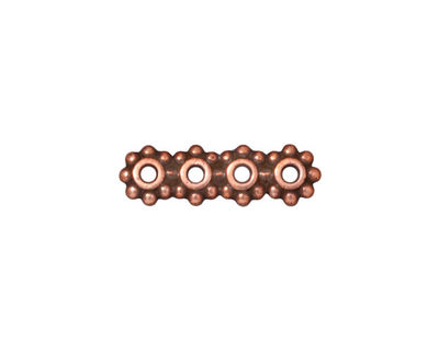 TierraCast Antique Copper (plated) Beaded 4-Hole 6mm Heishi Bar 21