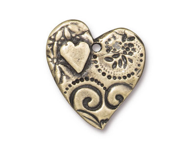 TierraCast Antique Brass (plated) Amor Heart Pendant 22x23mm