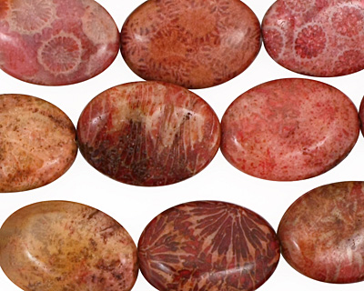 Fossil Coral (rose) Flat Oval 18x13mm