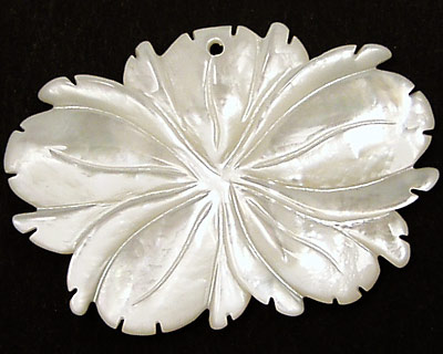 Mother of Pearl Carved Flower Pendant 44x30mm