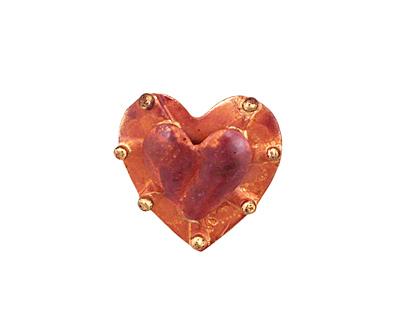 Patricia Healey Copper Bumpy Heart Button 19x20mm