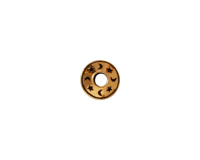 TierraCast Antique Gold (plated) Celestial Large Hole Bead 5x9mm