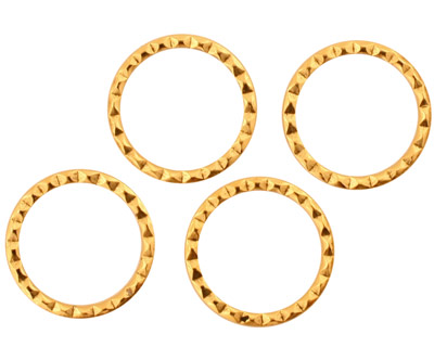 Stampt Antique Gold (plated) Small Round Textured Ring 16mm