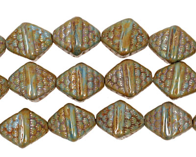Czech Glass Misty Moors Patterned Diamond 12x9mm