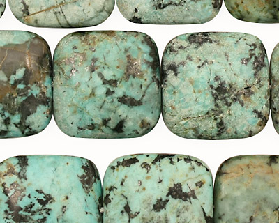 African Turquoise Puff Square 18mm