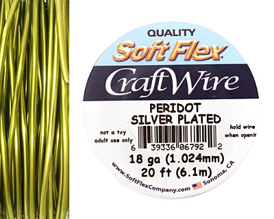 Soft Flex Silver Plated Peridot Craft Wire 18 gauge, 20 ft