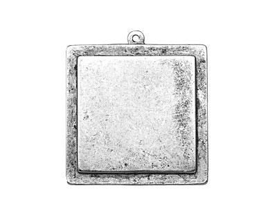 Nunn Design Antique Silver (plated) Raised Tag Grande Square Pendant 38x42mm