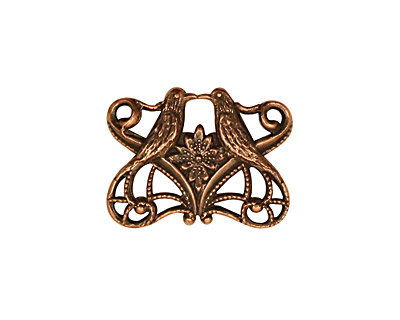 Stampt Antique Copper (plated) Kissing Birds Connector 21x16mm