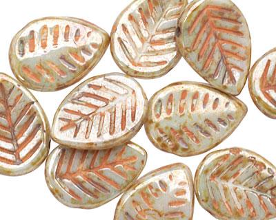 Czech Glass Luster Pistachio Carved Leaf Drop 12x17mm