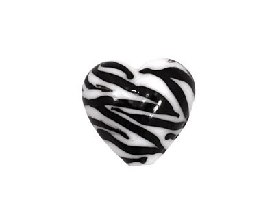 Grace Lampwork Zebra Stripes Heart 19-20mm