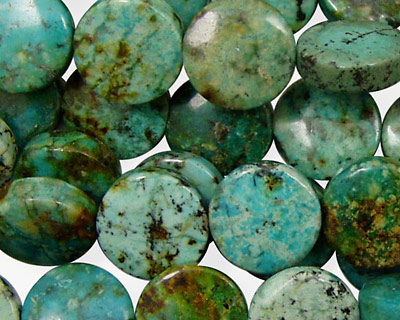 African Turquoise Puff Coin 12mm