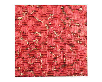 Lillypilly Red Wine Thatch Embossed Patina Copper Sheet 3