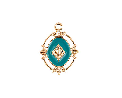 Zola Elements Turquoise Enamel Matte Gold Finish Ornate Framed Oval Focal 15x20mm