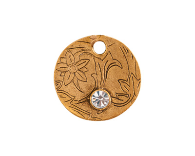 Nunn Design Antique Gold (plated) Decorative Small Circle Tag w/ Crystal 20mm