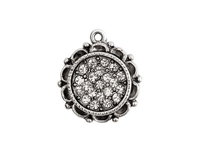 Nunn Design Antique Silver (plated) Mini Ornate Circle Bezel Pendant w/ Crystal 19x22mm