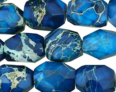 Midnight Blue Impression Jasper Faceted Nugget 18-19x13-14mm