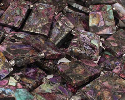 Purple Mosaic Stone w/ Pyrite Ladder 22x26mm