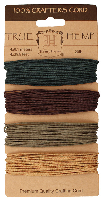 Shades of Camouflage Hemp Twine 20 lb, 29.8 ft x 4 colors