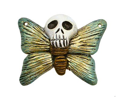 Poison Tree Polymer Clay Green Death Poetry Butterfly 35-36x26-27mm