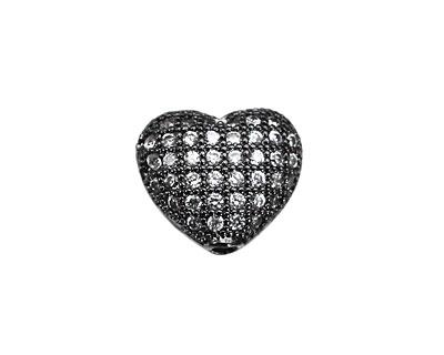 Gunmetal CZ Micro Pave Heart 10mm