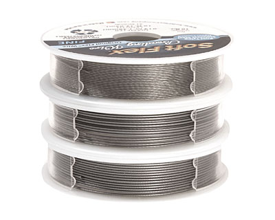 Soft Flex Trios Satin Silver Assorted Sizes Wire 3x10ft.