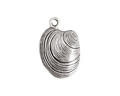 Nunn Design Antique Silver (plated) Clam Charm 15x22mm