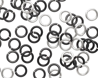 Shades of Grey Mix Enameled Copper Round Jump Ring 6mm, 18 gauge