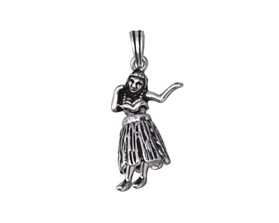 Antique Silver (plated) Dancing Hula Girl 26x10mm