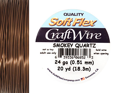 Soft Flex Smokey Quartz Craft Wire 24 gauge, 20 yards
