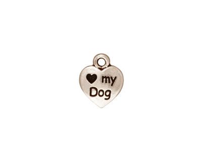 TierraCast Antique Silver (plated) Love My Dog Charm 10x12mm