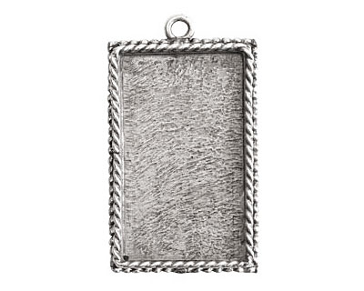 Nunn Design Antique Silver (plated) Large Ornate Rectangle Bezel Pendant 25x43mm