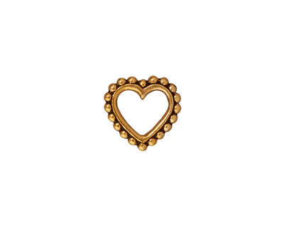 TierraCast Antique Gold (plated) Large Beaded Heart 12mm