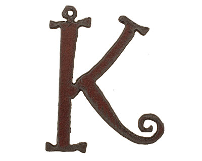 The Lipstick Ranch Rusted Iron Letter K Pendant 39x50mm