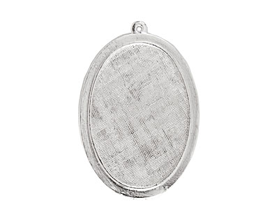 Nunn Design Sterling Silver (plated) Raised Oval Pendant 31x47mm