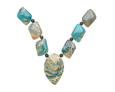 Turquoise Impression Jasper Mixed Pendant Set 13-35mm