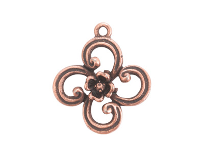 Nunn Design Antique Copper (plated) Fanciful Flower Petal Charm 22x25mm
