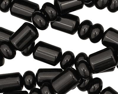 Black Onyx Barrel Rondelle 4-11x7-8mm
