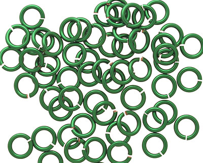 Green Enameled Copper Round Jump Ring 6mm, 18 gauge