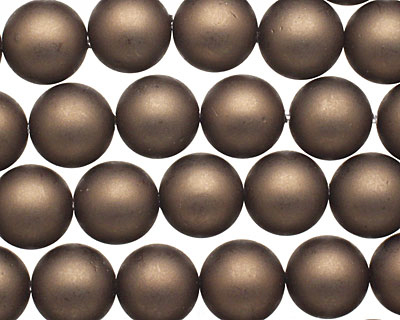 Chocolate (matte) Shell Pearl Round 10mm