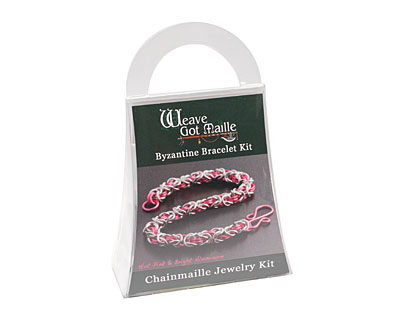 Weave Got Maille Hot Pink/Bright Aluminum Byzantine Bracelet Kit