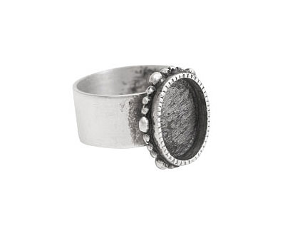Nunn Design Antique Silver (plated) Small Ornate Oval Bezel Adjustable Ring 15x18mm