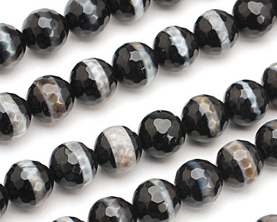 Smoky Banded Agate Faceted Round 10mm